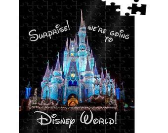 Surprise We're going to Disney Puzzle, Disney World Castle, Christmas castle, 25 piece wooden puzzle, custom, gift idea, personalized