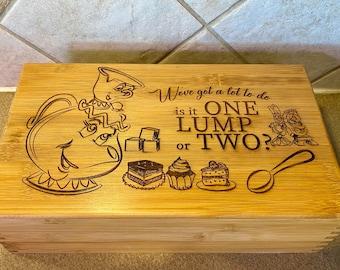 Engraved Tea Box, Disney inspired Tea Box, Beauty and the Beast Tea Box, Mother's Day gift idea, storage, home decor, gift