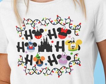 Unisex Shirt, Disney Christmas, Christmas Ornaments, Ho Ho Ho, doodle design, matching shirts, group shirts, Plus size