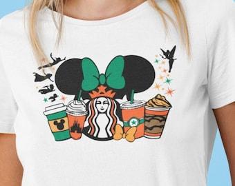 Unisex Shirt, Cinderella Latte, Coffee, Peter Pan, Disney and Starbucks, doodle design, matching shirts, group shirts, Plus size
