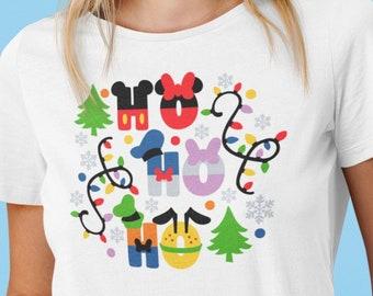 Unisex Shirt, Disney Christmas, Christmas Lights, Ho Ho Ho, doodle design, matching shirts, group shirts, Plus size