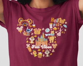 Disney Fall Shirt, Fall Vibes, Magic Kingdom, Coffee, Pumpkin spice, women's shirt, Unisex, matching shirts, group shirts,  Plus size