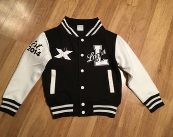KIDS VARSITY BASEBALL JACKET PERSONALISED WITH GENUINE US COLLEGE LETTER L
