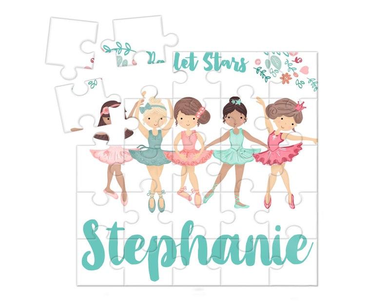 Custom Name Puzzle Ballerinas Dancers Gift Idea Girls image 0
