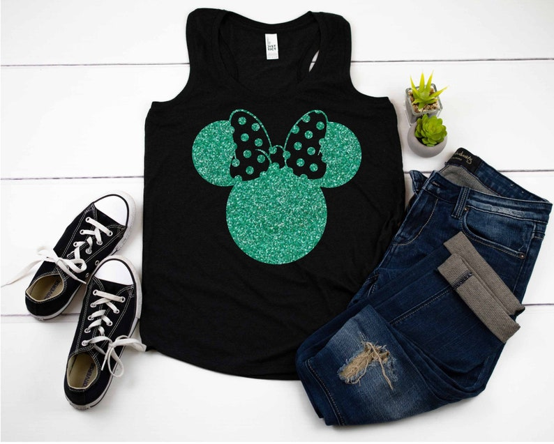 Disney girls shirt Minnie Mouse ears Glitter Rose Gold image 0