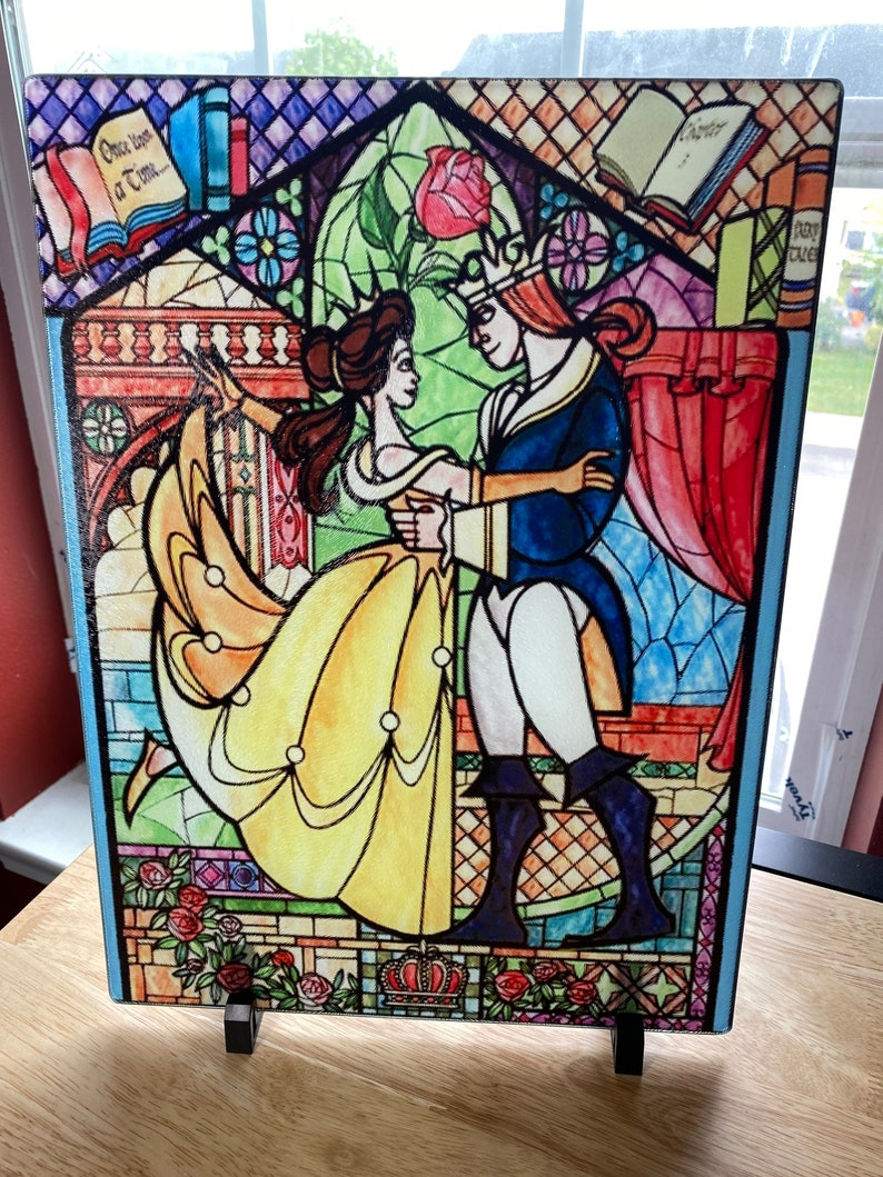 Cutting Board Beauty and the beast stain glass art Glass image 0