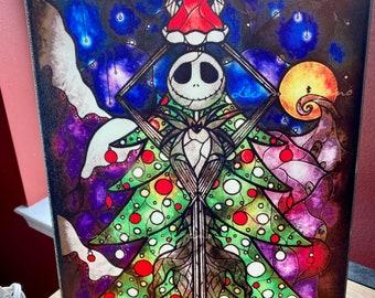 Cutting Board, Jack, Sandy Claws, Nightmare before Christmas, stain glass art, Glass Cutting Board, Photo Board, Wall Art, Disney Home Decor