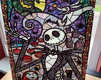 Cutting Board, Jack, Nightmare before Christmas, stain glass art, Glass Cutting Board, Photo Board, Wall Art, Disney Home Decor