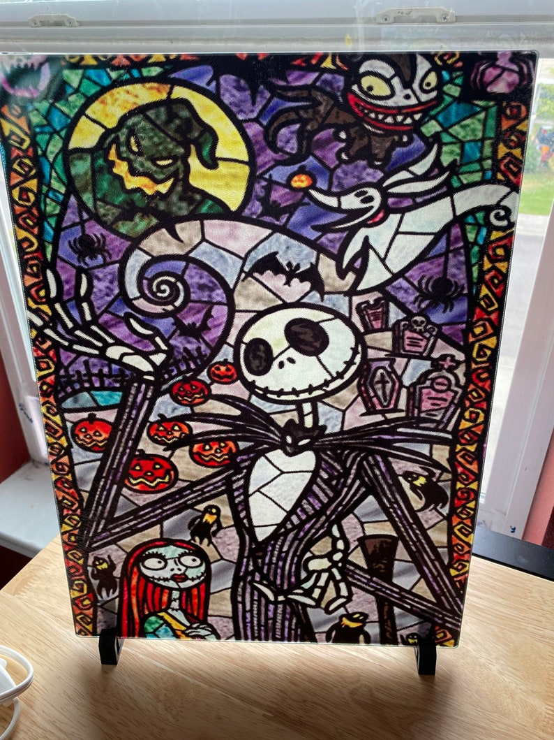 Cutting Board Jack Nightmare before Christmas stain glass image 0