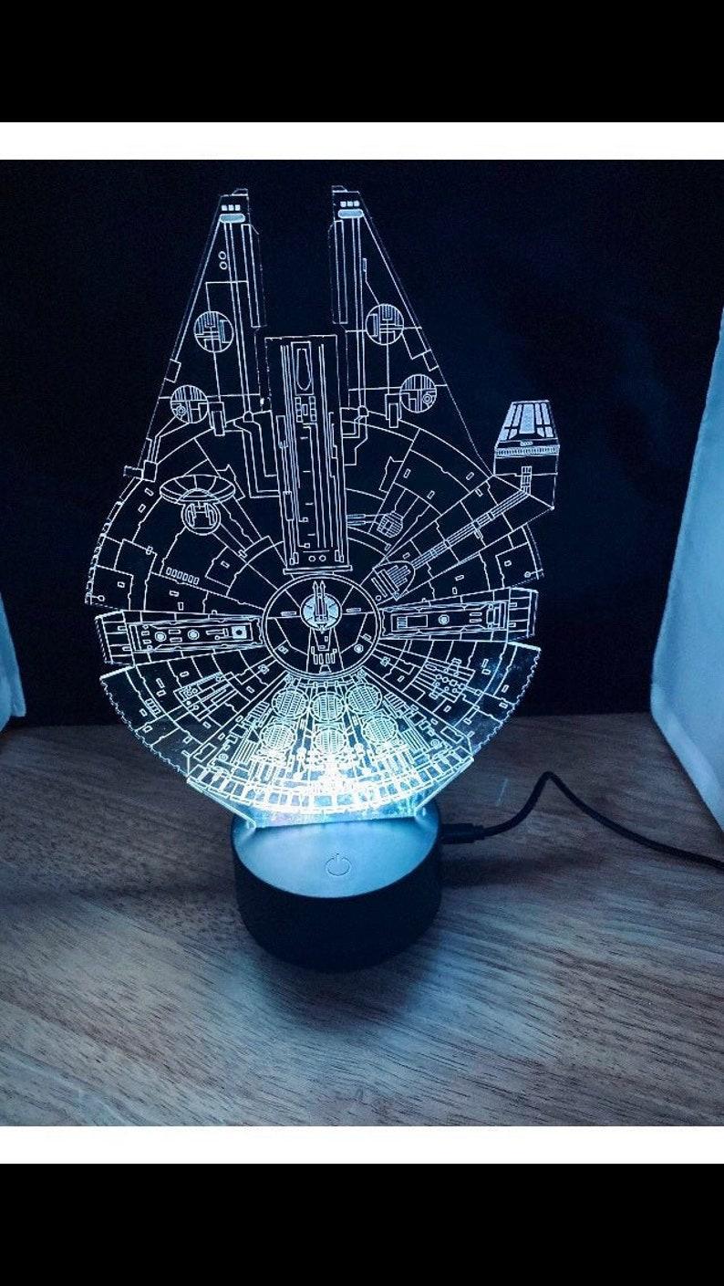 Star Wars Lamp Millenium Falcon LED Night Light Gift image 0