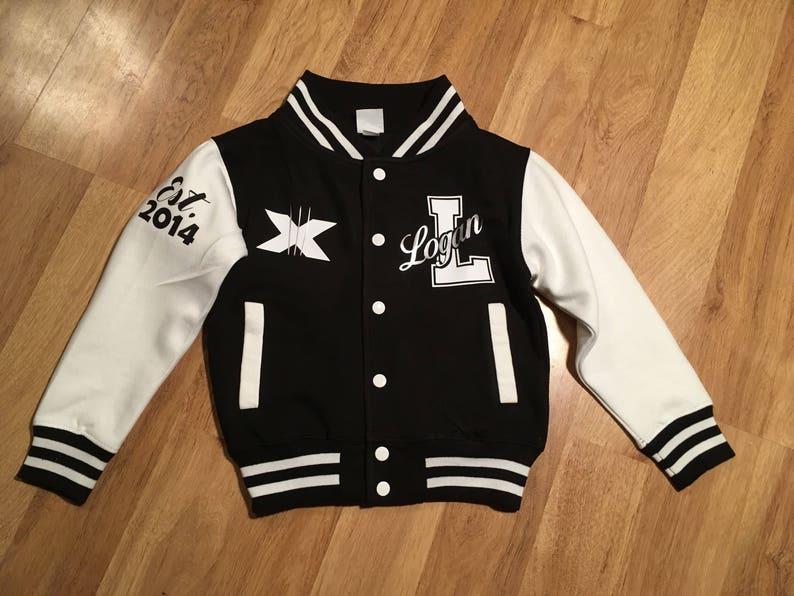 65bc695c2 Personalized Youth toddler kids Teen Adult Varsity Jacket