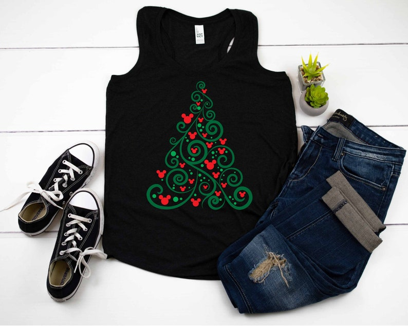 Disney shirt Women's Disney shirt Swirly Christmas Tree image 0