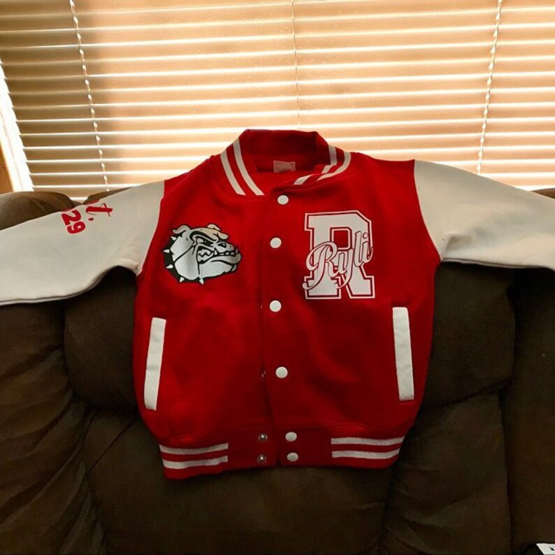 4480998375a Personalized Youth toddler kids Teen Adult Varsity Jacket