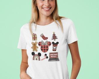 Unisex Shirt, Disney Christmas, Watercolor, Plaid, Christmas Movies, Minnie mouse, doodle design, matching shirts, group shirts, Plus size
