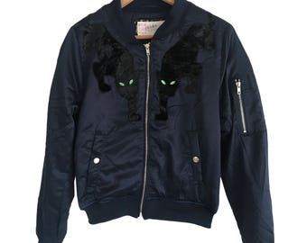one123one Adult Dark Navy Panther Bomber Jacket
