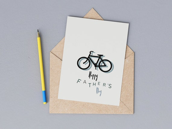 Cycling Father's Day Card, Bike Dad Card, Bicycle Sporty Happy Fathers Day, Plastic Free, Eco Friendly, Send Direct Option
