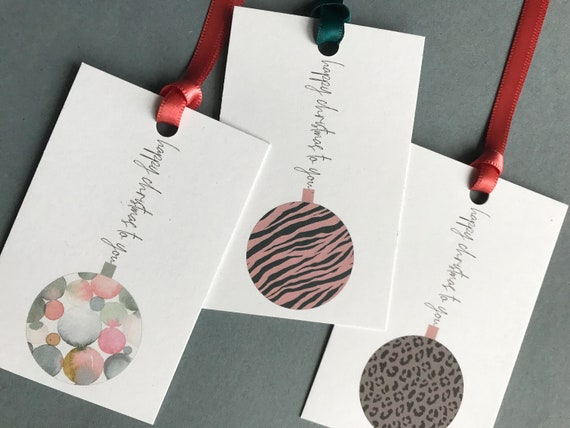 Christmas Gift Tag Set, Luxury Christmas Gift Wrap, Hand Finished, Bauble Gift Tags