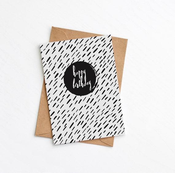 Modern Birthday Card, Minimalist Card, Black Scandi Print, Luxury Card, Plastic Free, Send Direct card