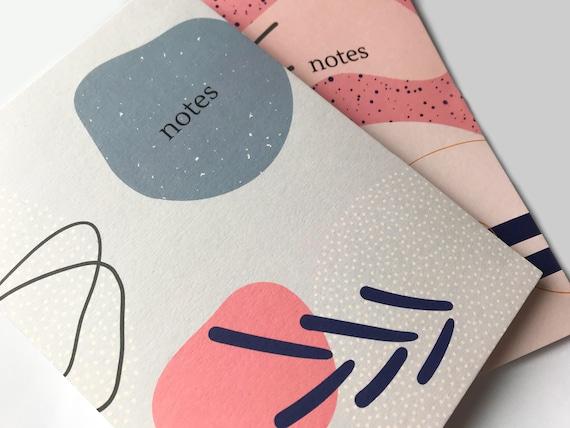 A5 Notebook Set, A5 Notepads, Modern Notebook Gift, Abstract Print, Journals, Set of 2 Notebooks