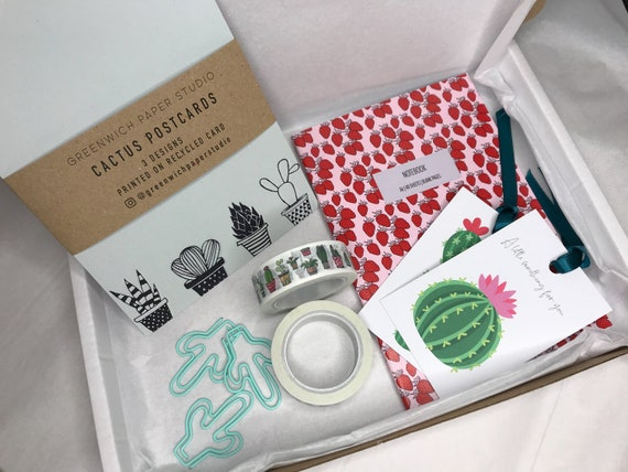 Plant Lovers Gift Set, Succulent Letterbox Gift, Send Direct, Cactus Prints, Stationery Boxed Gift, Washi Tape, Send Direct Gift