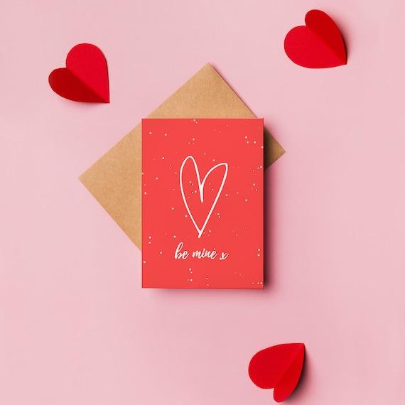Be Mine Valentines Card, Modern Valentines Day, Minimalist Valentine, Send Love, Plastic Free, Send Direct Card