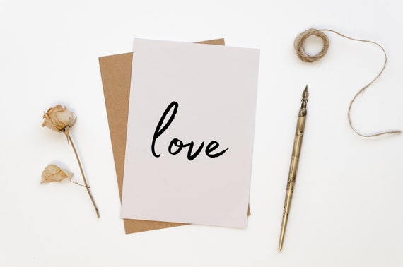 Love Modern Valentines Card, Minimal Valentines, Galentines, Calligraphy, Wedding Day, Anniversary Card, Plastic Free, I Love You