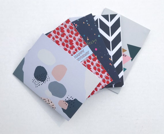 Set of 5 Modern Greetings Cards, Birthday & Blank Cards, Card Bundle, Colourful Print