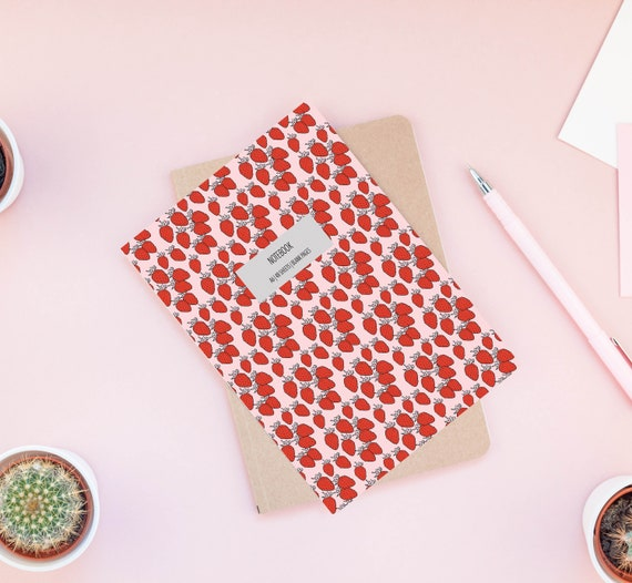 Strawberry Notebook, Small A6 Notepad, Modern Stationery, Stocking Filler, Blank Page Notebook