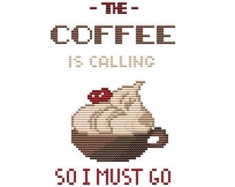 PDF cross stitch pattern, modern cross stitch pattern, coffee lovers, coffee cross stitch, funny cross stitch, coffee lovers embroidery