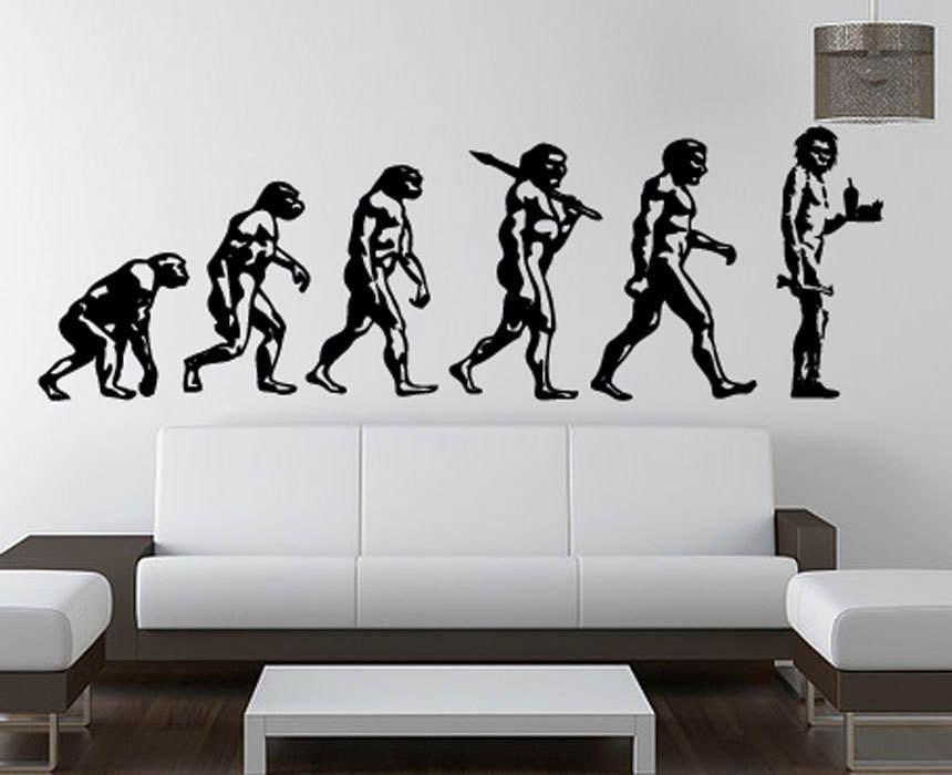Darwin Evolution Of Man Meets Banksy S Caveman Wall Decal