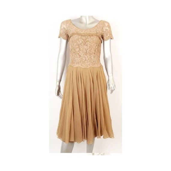 Vintage Howard Greer nude lace dress silk dresss/m
