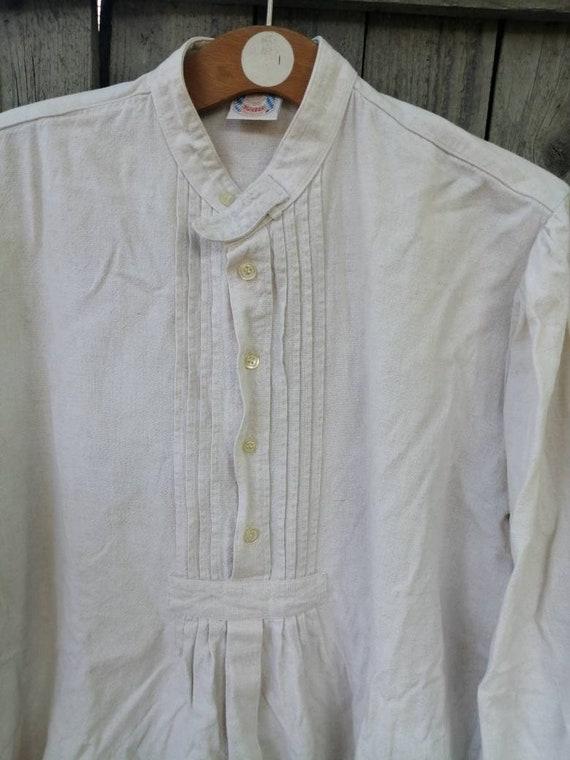 Vintage mens peasant shirt cotton linen shirt M