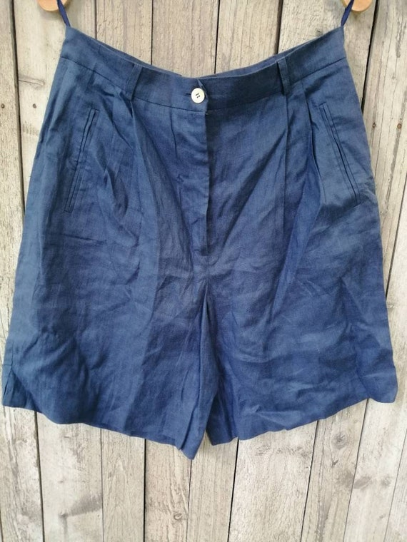 Vintage blue linen shorts palazzo shorts plaid Ber