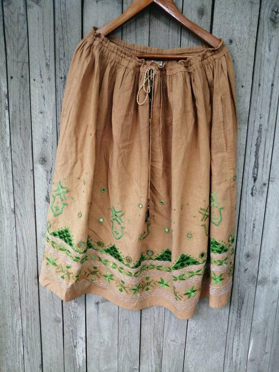 Vintage maxi skirt made in India brown cotton skir