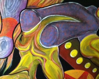 Pop Surreal Art: The Acrobat 16x16 inch Original Acrylic Painting