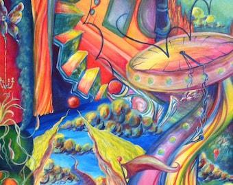 Surrealist Eclectic Curious Art~ Pop Surrealism/Surreal Original Acrylic Painting: Brain Arcade 16x20 in. Childhood Art Puzzle Art