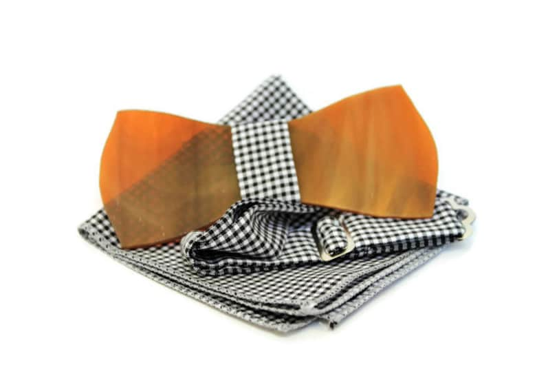 Gift idea for him Bow tie with handkerchief. Handmade glass bow tie with adjustable strap