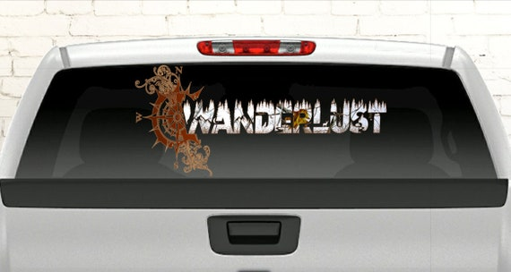 Truck Stickers For Back Window >> Wanderlust Car Decal Camo Car Decal Wanderlust Back Window Truck Decal Full Back Glass Truck Decal