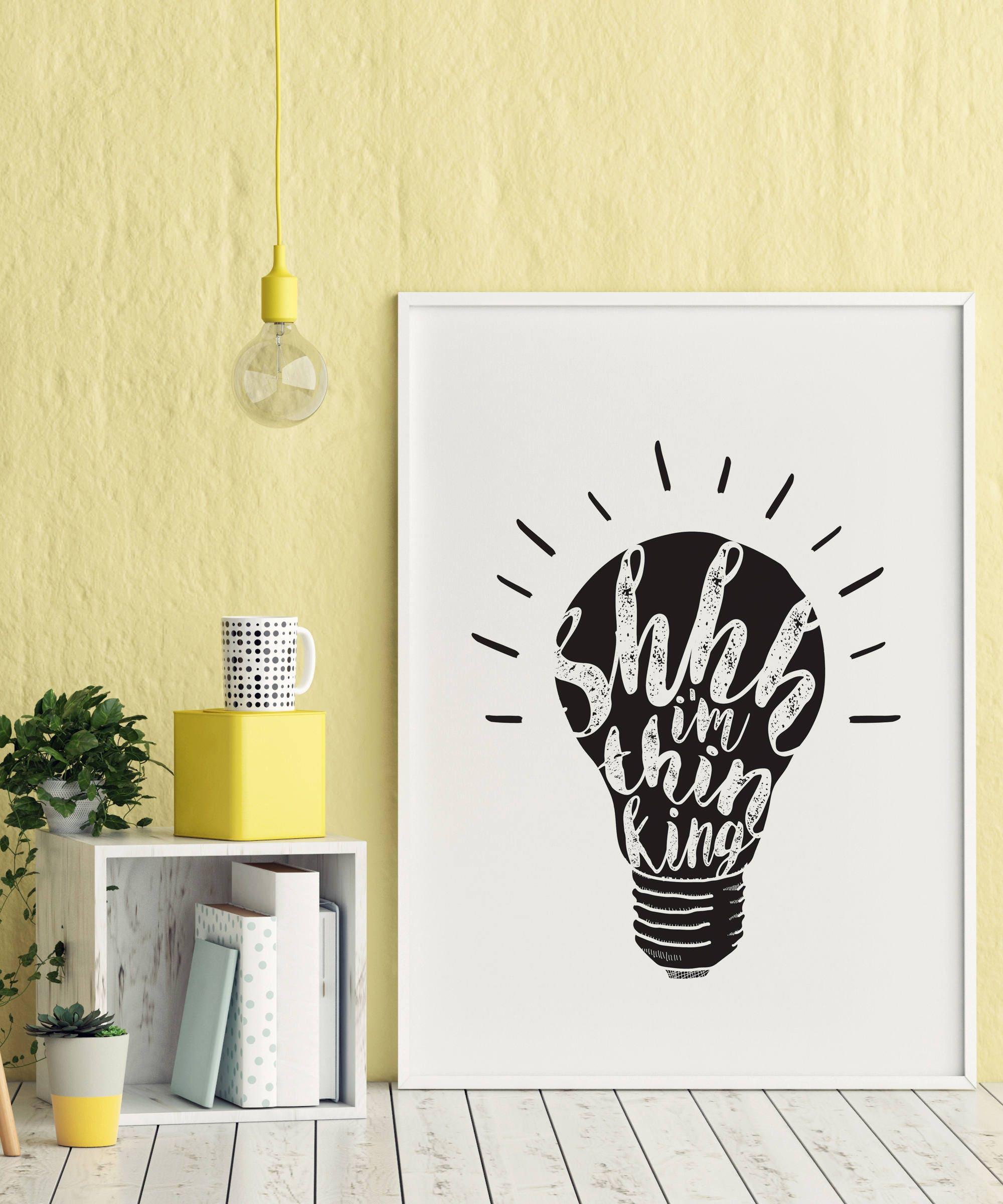 Shhh I\'m Thinking printable quote wall art digital   Etsy