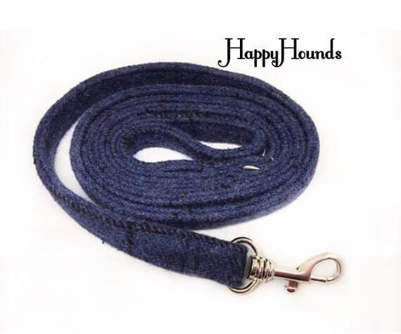 Magnifique chien Tweed bleu sans plomb / laisse avec fermoir en métal.