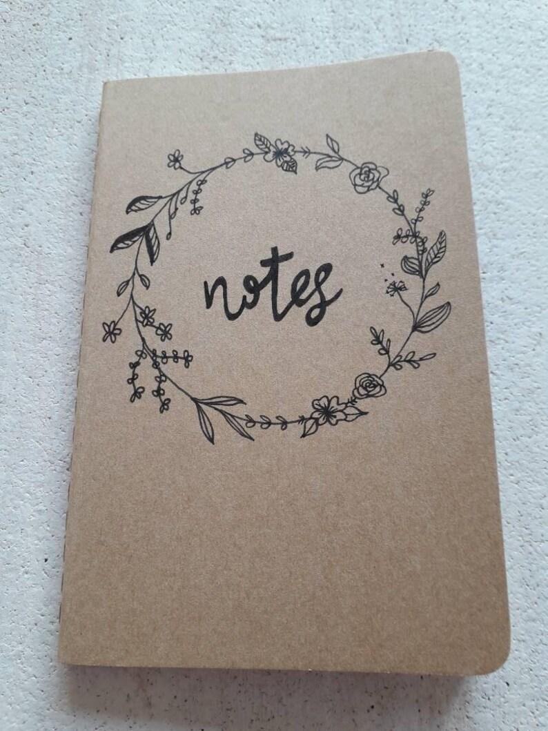 Kraft Moleskine Pocket Notepad Cahier hand finished floral image 0