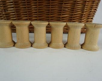 "Vintage Empty Wooden Thread Spools, Corticelli Sewing Spools, Empty Wood Spools, Vintage Craft Spools, 1 15/16"" H, 2"" H Spools, Free Ship"