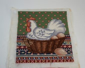 Completed Needlepoint, Needlepoint Canvas, Seat Cover, Pillow Footstool Cover, 12 quot sq. Rooster Hen Egg Design, Country Pillow Free Ship