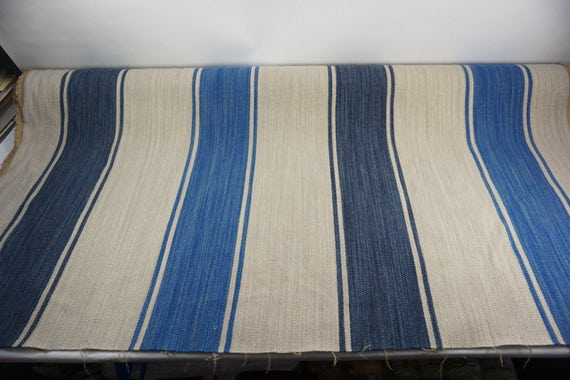 Striped Fabric Woven Wool Upholstery Weight Fabric Blue Etsy