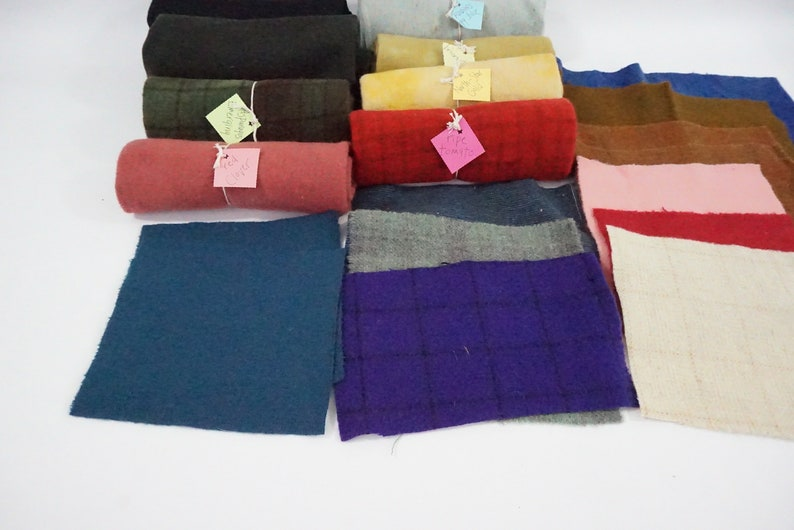 Wool Fabric Wool For Crafting Penny Rug Wool Craft Wool Free Ship Hand Dyed Wool Applique Wool Wool Samples For Hand Sewing