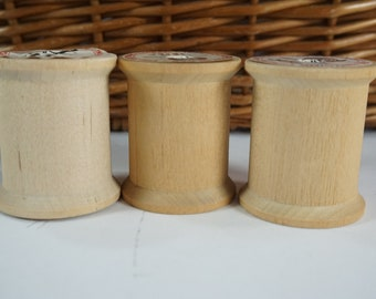 "Vintage Empty Wooden Thread Spools, 3 American Thread Sewing Spools, Empty Wood Spools, Vintage Craft Spools, 1 3/4"" H Spools, Free Ship"