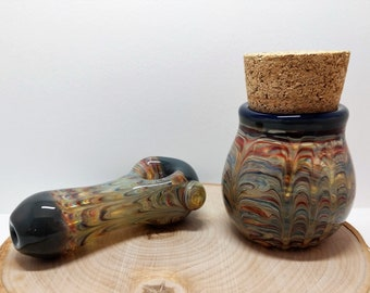 Super Thick Matching Glass Pipe and Jar Set , Smoking Pipe, Pipe and Jar, Heavy Glass Pipe, Inside Out Pipe, Color Changing Pipe, Stash Jar
