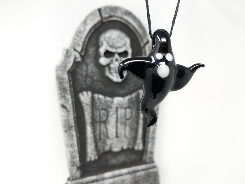 Charm Ghost Casper Car Charm Costume Necklace Mirror Charm Glass Necklace Cute Halloween Ghost Charm Glass Ghost Charm Black Ghost