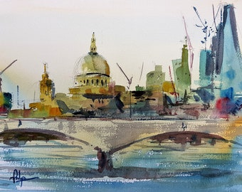 St. Paul's Cathedral Over Waterloo Bridge - Original watercolour Landscape Painting - Watercolor