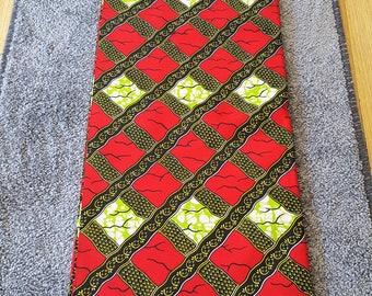 African Ankara Wax Print/ 6 Yards Wax Fabric/ Red, Brown, Green